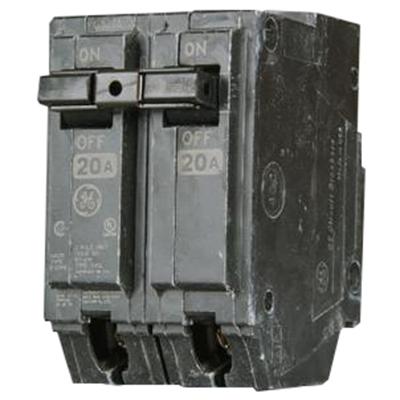 GE Distribution THHQL2120 Q-Line Molded Case Circuit Breaker; 20 Amp, 120/240 Volt AC, 2-Pole, Plug-In Mount