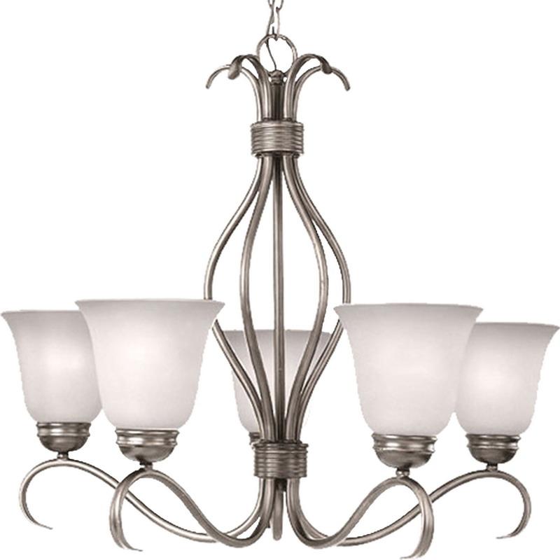 Maxim 10125ICSN Basix Collection 5-Light Ceiling Mount Single-Tier Incandescent Chandelier; 100 Watt, 5750 Lumens, Satin Nickel, Lamp Not Included