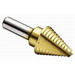 Ideal 35-513 2 Flute Step Drill Bit; 1/4 to 7/8 Inch, 11 Increments, 3/8 Inch Shank, High Speed Steel, Titanium Nitrate