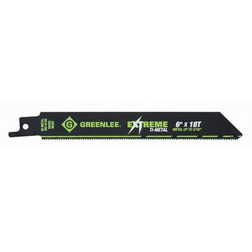 Greenlee 353-618G Titanium Coated Bi-Metal Reciprocating Saw Blade 6 Inch- 3/4 Inch- 18 TPI- 5/Pack-