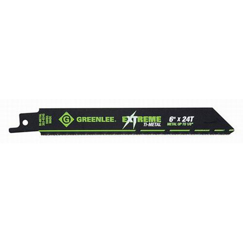 Greenlee 353-624G Titanium Coated Bi-Metal Reciprocating Saw Blade; 6 Inch, 3/4 Inch, 18 TPI, 5/Pack