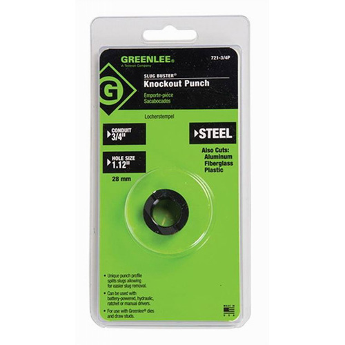 Greenlee 721-3/4P Slug-Buster® Packed Round Replacement Punch; 1.115 Inch Hole, 3/4 Inch Conduit/Pipe