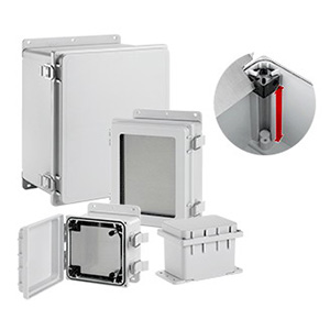 Hoffman A16148PHC PolyPro™ Junction Box Enclosure; Polyester, Light Gray, Solid, Hinged