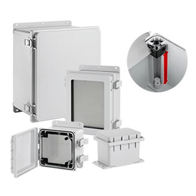 Hoffman A864PHC PolyPro™ Enclosure; Non-Glass-Filled Polyester, Light Gray (RAL 7035), Solid Snap-Hinge Cover, Panel Mount