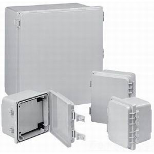 Hoffman A884PHC PolyPro™ Enclosure; Non-Glass-Filled Polyester, Light Gray (RAL 7035), Solid Snap-Hinge Cover, Panel Mount