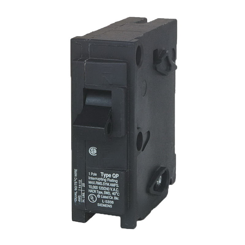 Siemens Q115 Circuit Breaker; 15 Amp, 120 Volt AC, 1-Pole, Plug-In Mount