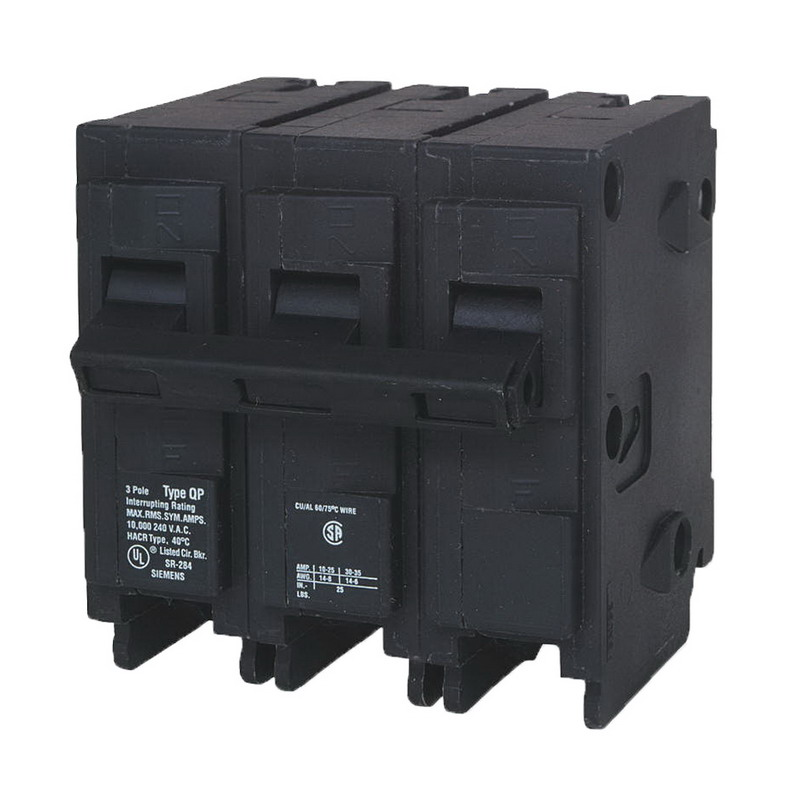 Siemens Q320 Circuit Breaker; 20 Amp, 240 Volt AC, 3-Pole, Plug-In Mount