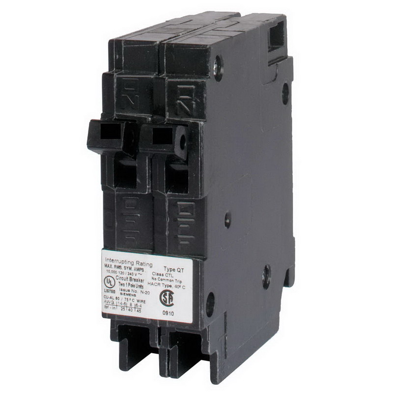 Siemens Q2020 Circuit Breaker; (1) Single Pole 20 Amp, (1) Single Pole 20 Amp, 120 Volt AC, 2-Pole, Plug-In Mount