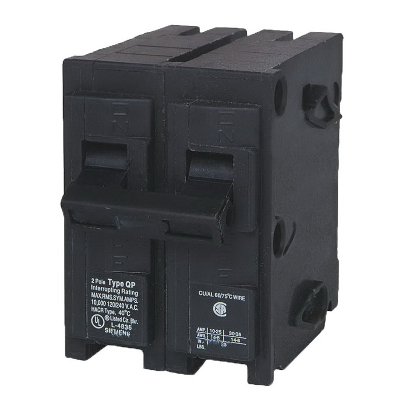 Siemens Q220 Circuit Breaker; 20 Amp, 120/240 Volt AC, 2-Pole, Plug-In Mount