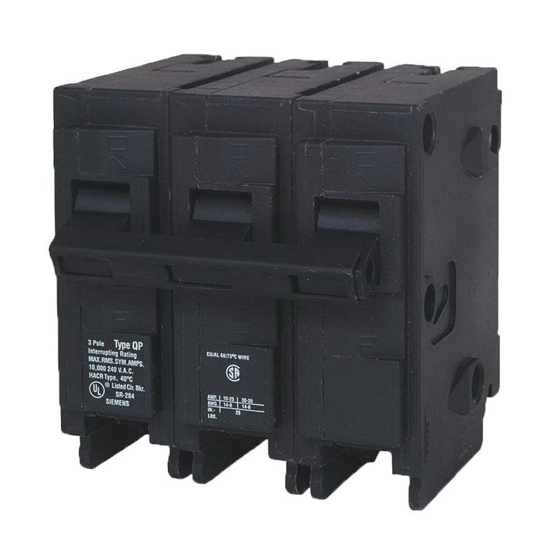 Siemens Q3100 Circuit Breaker; 100 Amp, 240 Volt AC, 3-Pole, Plug-In Mount