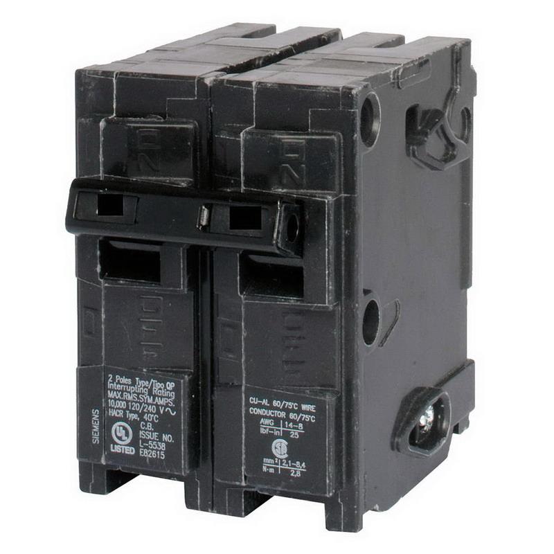 Siemens Q2125 Circuit Breaker; 125 Amp, 120/240 Volt AC, 2-Pole, Plug-In Mount