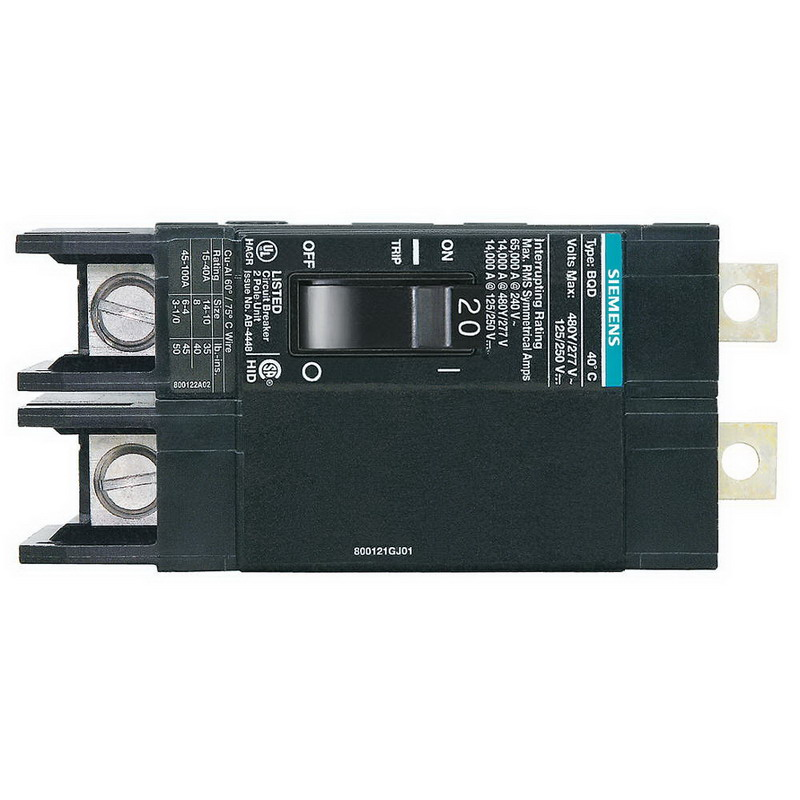 Siemens BQD220 Branch Molded Case Circuit Breaker; 20 Amp, 480Y/277 Volt AC, 125/250 Volt DC, 2-Pole, Bolt-On Mount