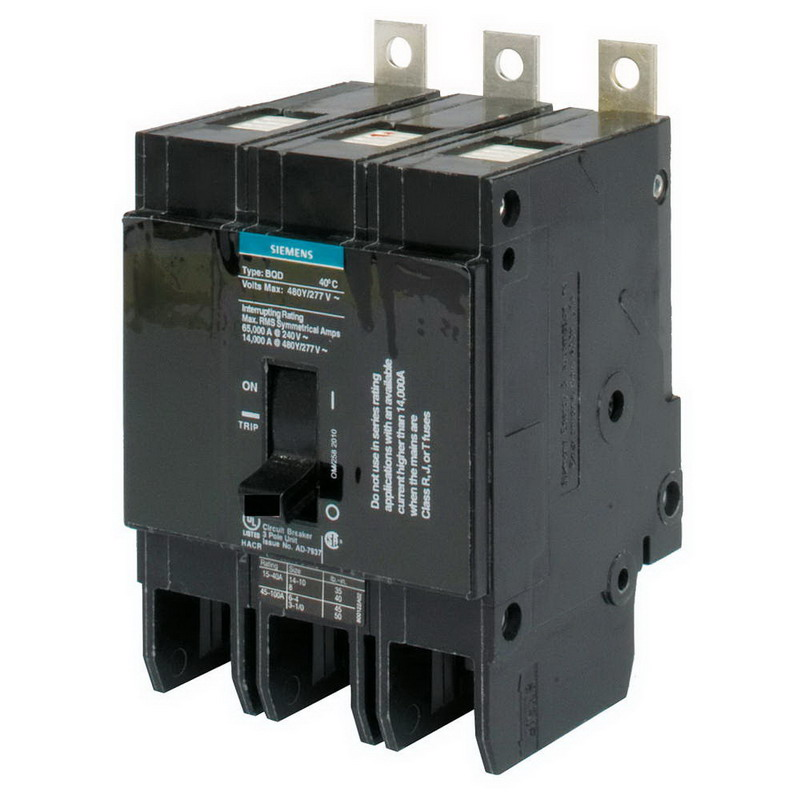 siemens bqd3100 branch molded circuit breaker 100 amp 480y 277 volt ac 3 pole bolt on