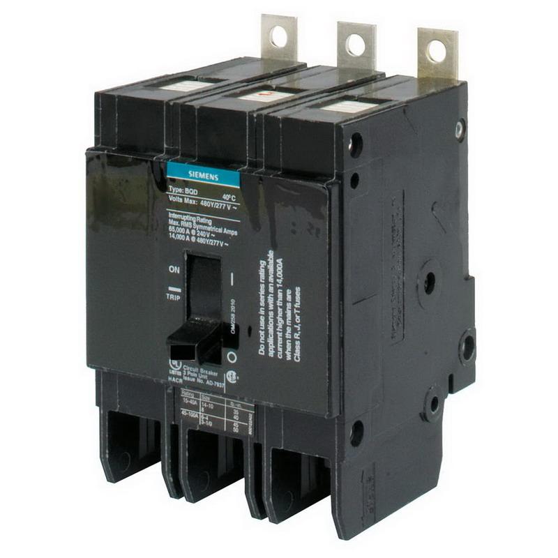 Siemens BQD3100 Branch Molded Case Circuit Breaker; 100 Amp, 480Y/277 Volt AC, 3-Pole, Bolt-On Mount