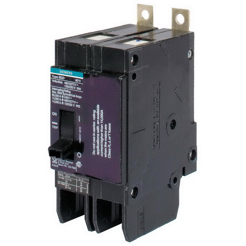 Siemens BQD260 Branch Molded Case Circuit Breaker; 60 Amp, 480Y/277 Volt AC, 125/250 Volt DC, 2-Pole, Bolt-On Mount