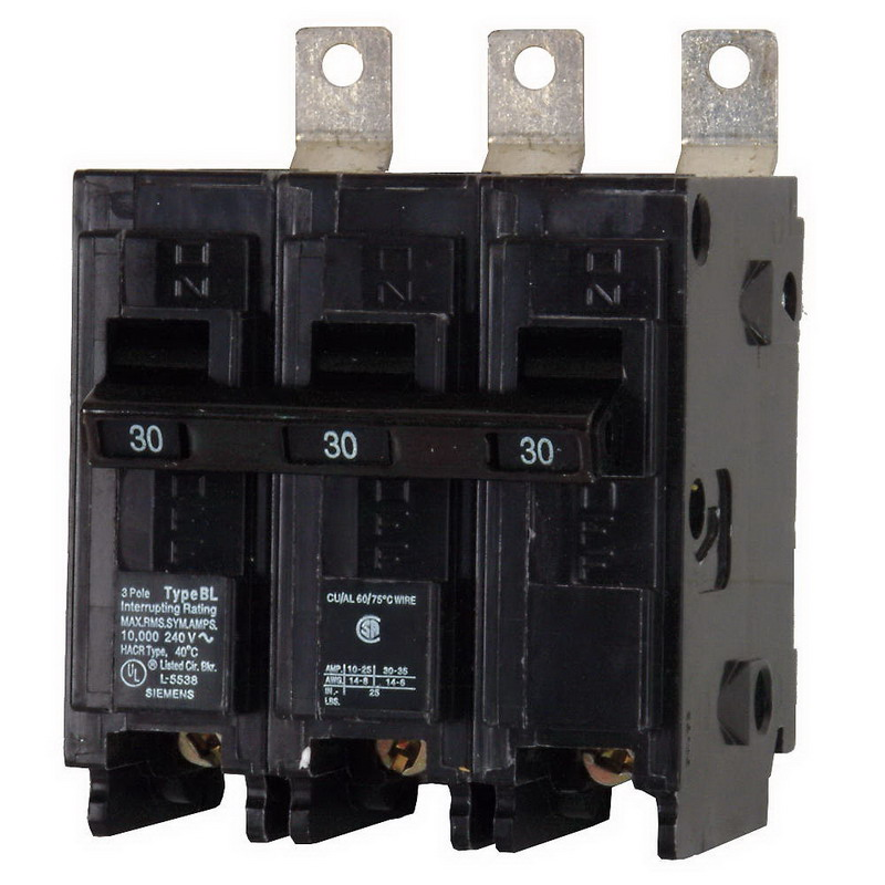 Siemens B330H Molded Case Circuit Breaker; 30 Amp, 240 Volt AC, 3-Pole, Bolt-On Mount