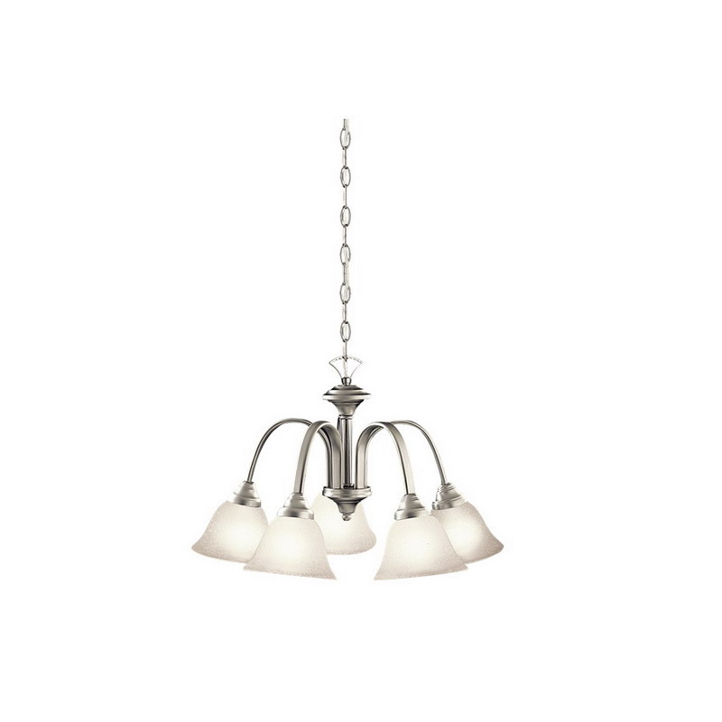 Kichler 2022NI Hastings Collection 5-Light Ceiling Mount Incandescent Chandelier; 100 Watt, Brushed Nickel, Lamp Not Included