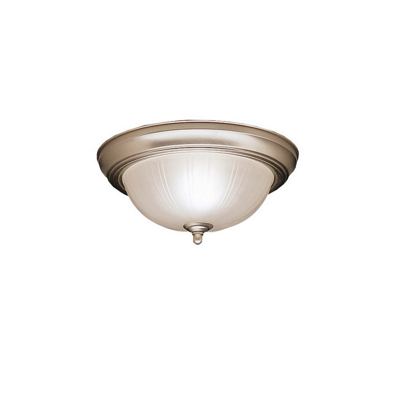 Kichler 8653NI Dover Collection 2-Light Ceiling Flush Mount Incandescent Light Fixture; 60 Watt, Brushed Nickel, Lamp Not Included