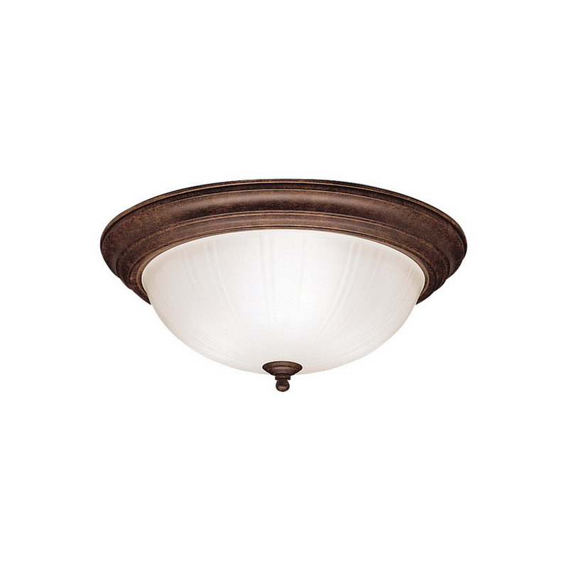 Kichler 8655TZ Hastings Collection 3-Light Ceiling Flush Mount Incandescent Light Fixture; 60 Watt, Tannery Bronze, Lamp Not Included