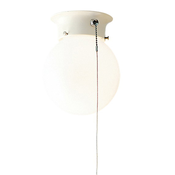 Kichler 4216WH Ceiling Space Collection 1-Light Ceiling Flush Mount Incandescent Light Fixture With Pull Chain; 75 Watt, White, Lamp Not Included