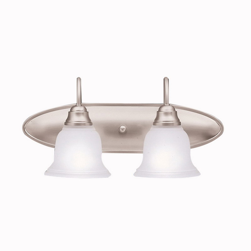 Kichler 5932NI Portsmouth Collection 2-Light Wall Mount Bath Vanity Light Fixture; 100 Watt, Brushed Nickel, Lamp Not Included