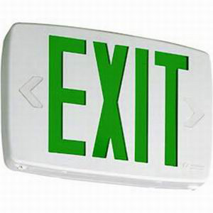 Lithonia Lighting / Acuity LQM-S-W-3-G-120/277-EL-N-M6 Quantum® Quick-Mount® Battery Powered LQM Family LED Emergency Exit Sign; Stencil Single Face, Green Letter, White Housing