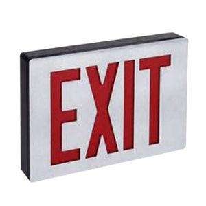 Lithonia Lighting / Acuity LE S 1 R 120/277 Battery Powered LED Emergency Exit Sign; Stencil With Canopy Single Face, Red Letter, Brushed Aluminum