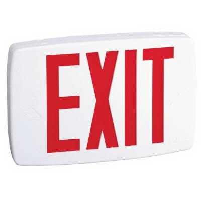 Lithonia Lighting / Acuity LQM-S-W-3-R-120/277-EL-N-M6 Quantum® Quick-Mount® Battery Powered LQM Family LED Emergency Exit Sign; Stencil Single Face, Red Letter, White Housing