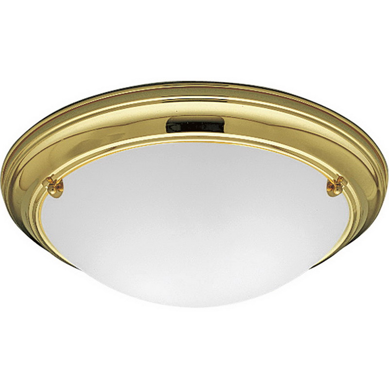 Progress Lighting P3561-10 Eclipse Collection 2-Light Ceiling Mount Incandescent Light Fixture; 60 Watt, Polished Brass, Lamp Not Included