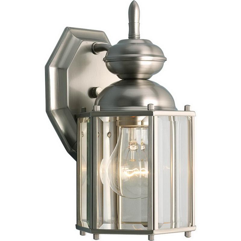 Progress Lighting P5756-09 BrassGuard Family 1-Light Wall Lantern; 100 Watt, Brushed Nickel, Lamp Not Included