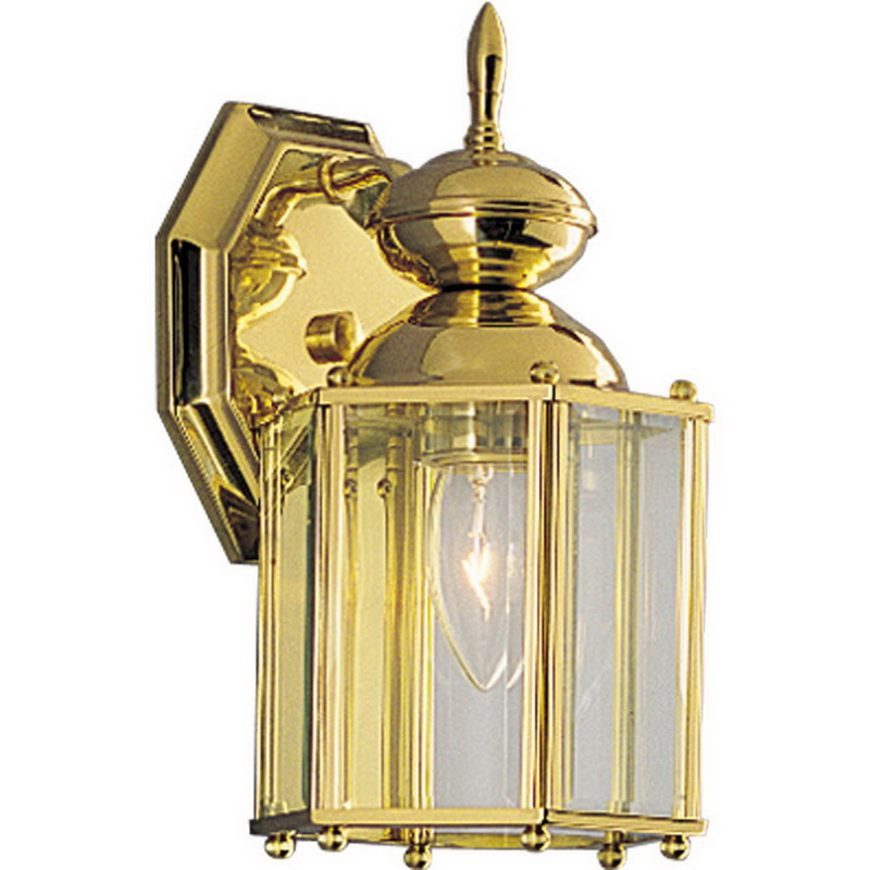 Progress Lighting P5756-10 BrassGuard Family 1-Light Wall Lantern; 100 Watt, Polished Brass, Lamp Not Included