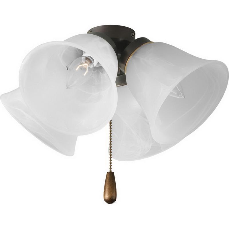 Progress Lighting P2643-20 Universal Family 4-Light Fan Light Kit; 40 Watt, Antique Bronze