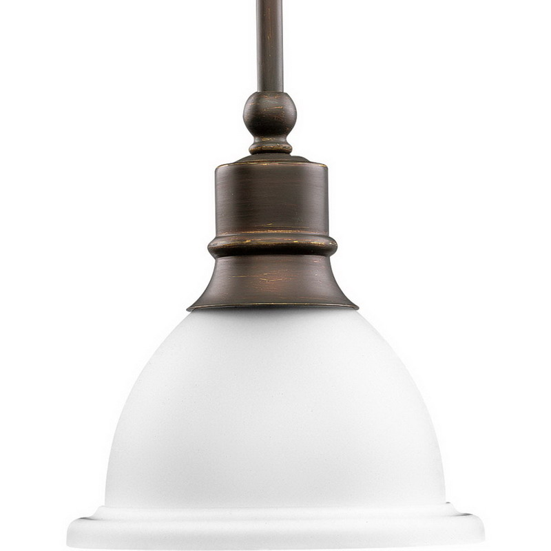 Progress Lighting P5078-20 Madison Collection 1-Light Ceiling Stem Mount Incandescent Stem-Hung Mini-Pendant Light Fixture; 100 Watt, Antique Bronze