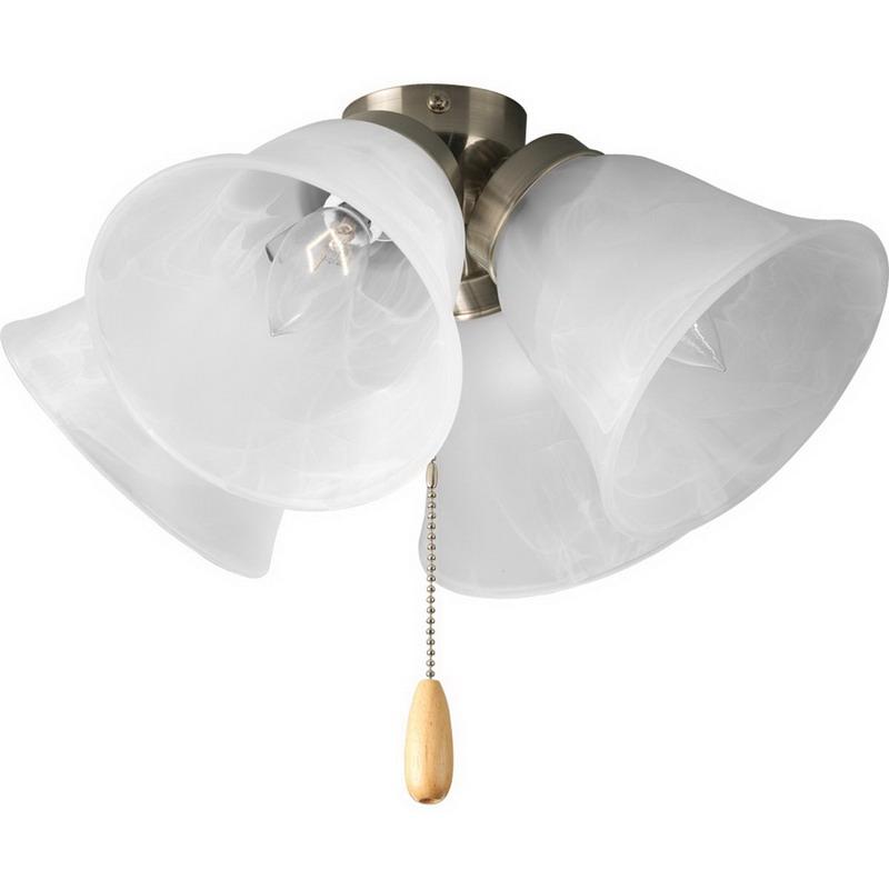 Progress Lighting P2643-09 Universal Family 4-Light Ceiling Fan Light Kit; 40 Watt, Brushed Nickel