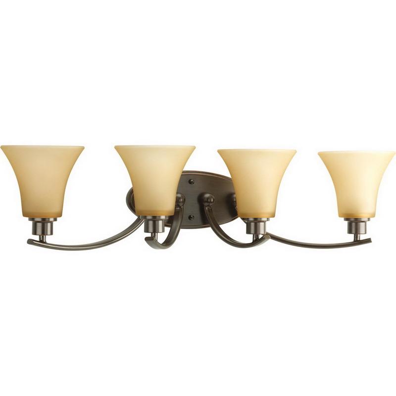 Wall Mounted Incandescent Lamp : Progress Lighting P2003-20 Joy Collection 4-Light Wall Mount Incandescent Bath Lighting Fixture ...