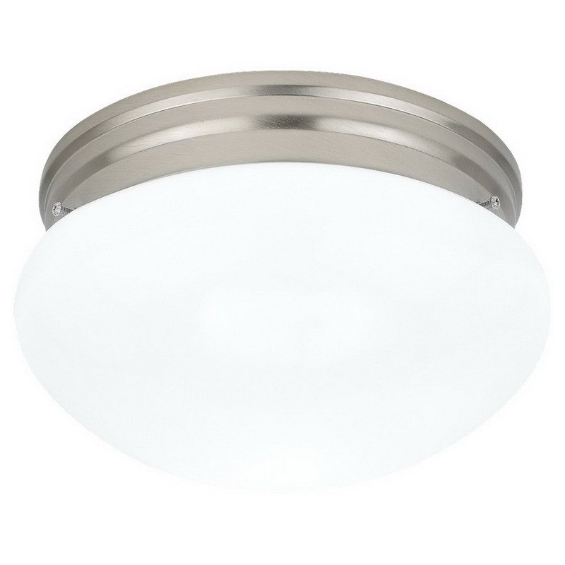 Sea Gull 5328-962 Webster Collection 2-Light Ceiling Flush Mount Light Fixture; 60 Watt, Brushed Nickel, Lamp Not Included