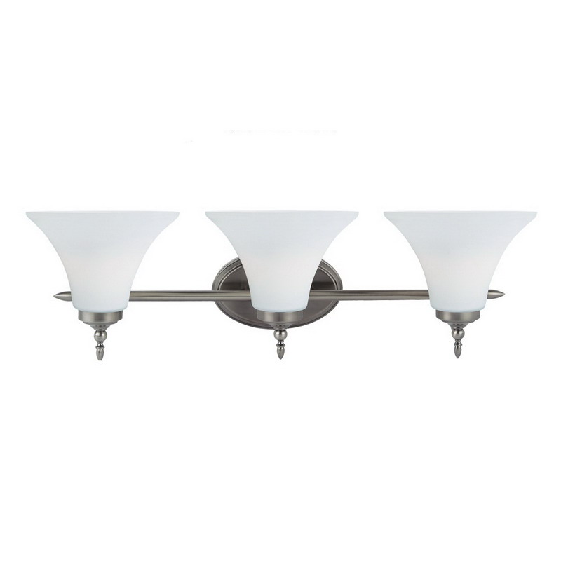 Sea Gull 41182-965 Montreal Collection 3-Light Wall/Bath Light Fixture; 100 Watt, Antique Brushed Nickel, Lamp Not Included