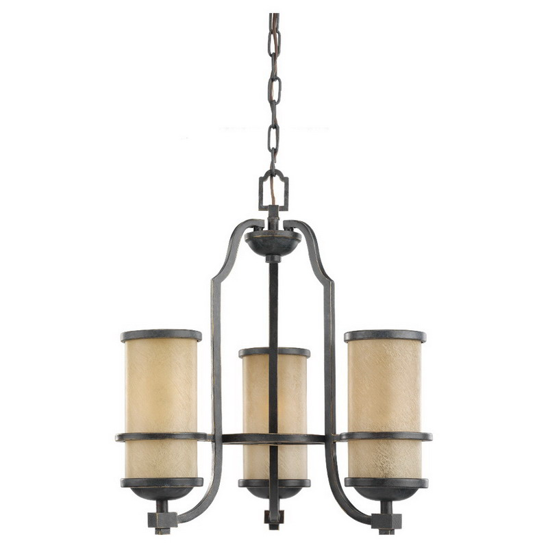Sea Gull 31520-845 Roslyn Collection 3-Light Ceiling Mount Chandelier; 100 Watt, Flemish Bronze, Lamp Not Included