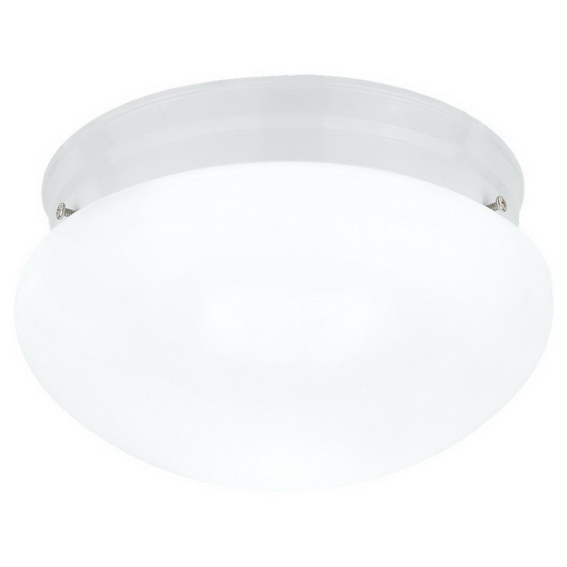 Sea Gull 5328-15 Webster Collection 2-Light Ceiling Flush Mount Light Fixture; 60 Watt, White, Lamp Not Included