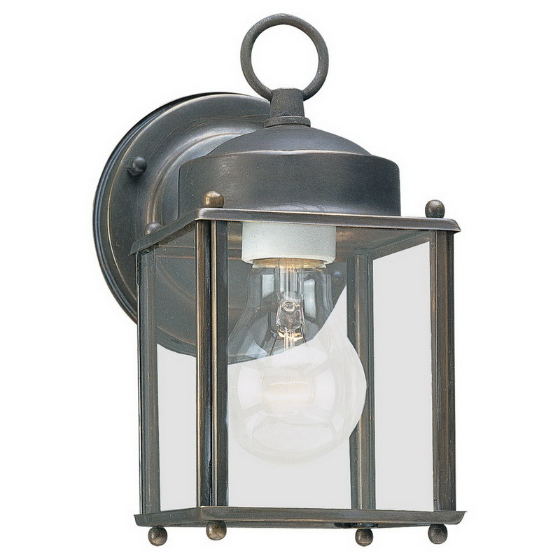 Sea Gull 8592-71 New Castle Collection 1-Light Cap Nuts Mount Wall Lantern; 100 Watt, Antique Bronze, Lamp Not Included