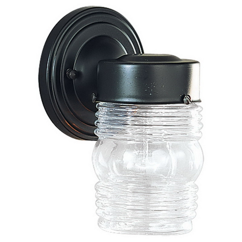 Sea Gull 8550-12 1-Light Cap Nuts Mount Small Wall Lantern; 100 Watt, Black, Lamp Not Included