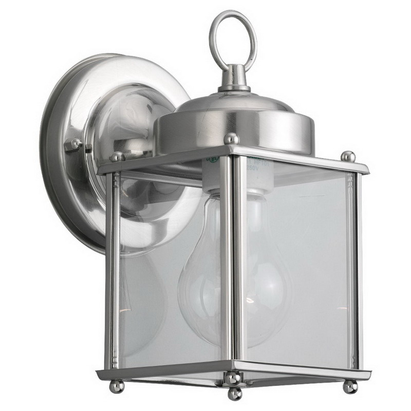 """""""""""Sea Gull 8592-965 New Castle Collection 1-Light Cap Nuts Mount Wall Lantern 100 Watt, Antique Brushed Nickel, Lamp Not Included,"""""""""""" 374873"""