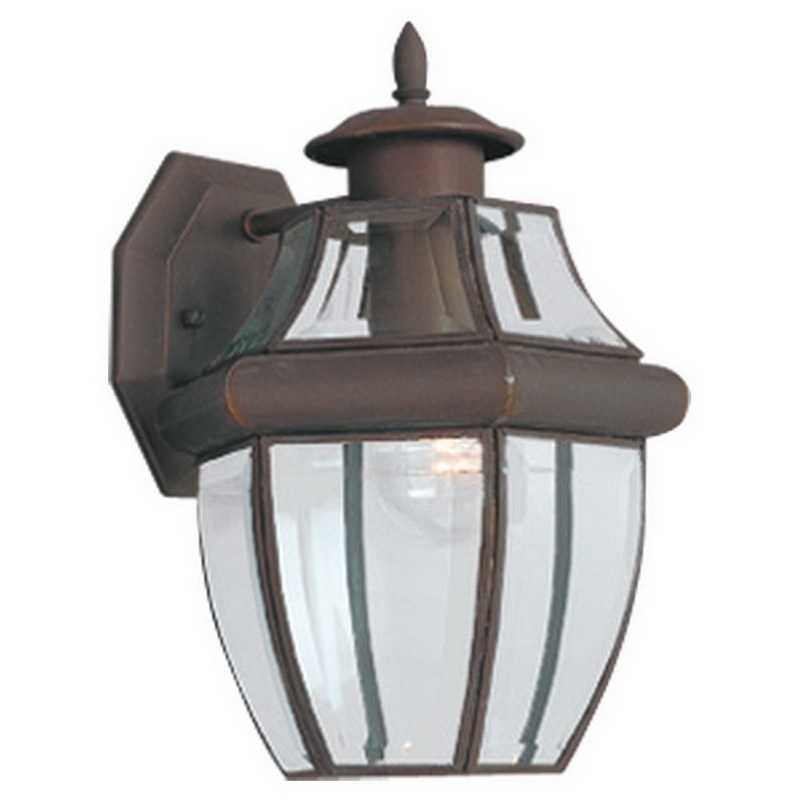 Sea Gull 8038-71 Lancaster Collection 1-Light Cap Nuts Mount Medium Wall Lantern; 100 Watt, Antique Bronze, Lamp Not Included