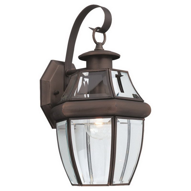 Sea Gull 8067-71 Lancaster Collection 1-Light Cap Nuts Mount Wall Lantern; 100 Watt, Antique Bronze, Lamp Not Included