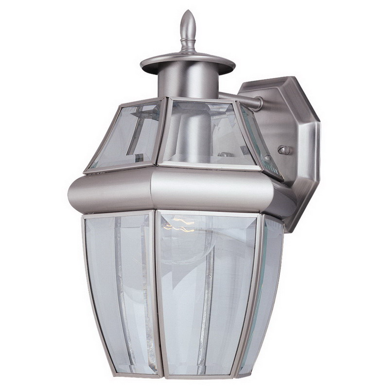 Sea Gull 8038-965 Lancaster Collection 1-Light Cap Nuts Mount Wall Lantern; 100 Watt, Antique Brushed Nickel, Lamp Not Included