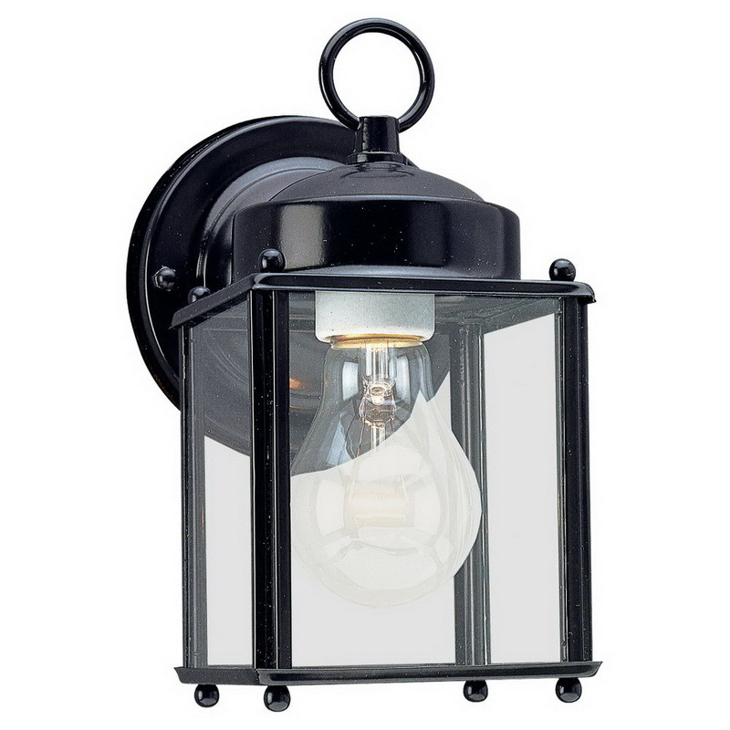 """""Sea Gull 8592-12 New Castle Collection 1-Light Cap Nuts Mount Wall Lantern 100 Watt, Black, Lamp Not Included,"""""" 520747"