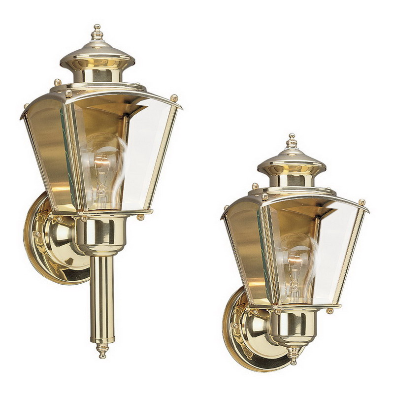"""""Sea Gull 8503-02 New Castle Collection 1-Light Cap Nuts Mount Wall Lantern 100 Watt, Polished Brass, Lamp Not Included,"""""" 59544"