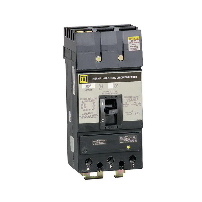 Schneider Electric / Square D KAL36100 I-Line® Molded Case Circuit Breaker; 100 Amp, 600 Volt AC, 250 Volt DC, 3-Pole, Unit Mount