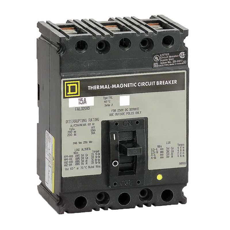 Schneider Electric / Square D FAL36040 PowerPact Molded Case Circuit Breaker 40 Amp  600 Volt AC  250 Volt DC  3-Pole  Unit Mount