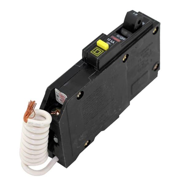 Schneider Electric / Square D QOB115GFI Ground Fault Miniature Circuit Breaker with Shunt Trip; 15 Amp, 120 Volt AC, 1-Pole, Bolt-On Mount